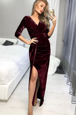 Red Deep V Neck Ruched Side Slit Cocktail Velvet Dress