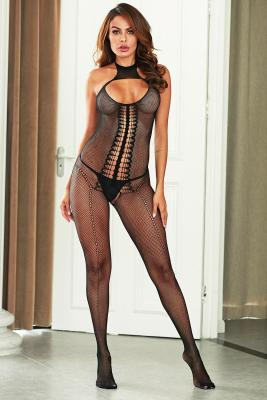Black Hollowout High Neck Fishnet Bodystocking