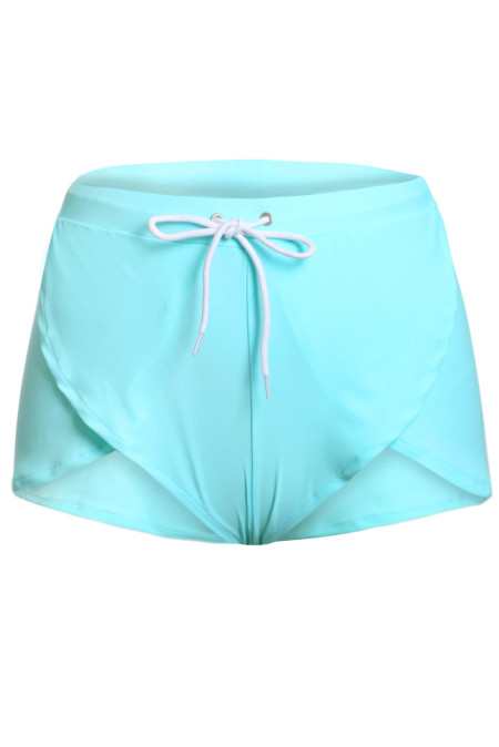 Solid Green Drawstring Waist Boyshort Beach Bottom