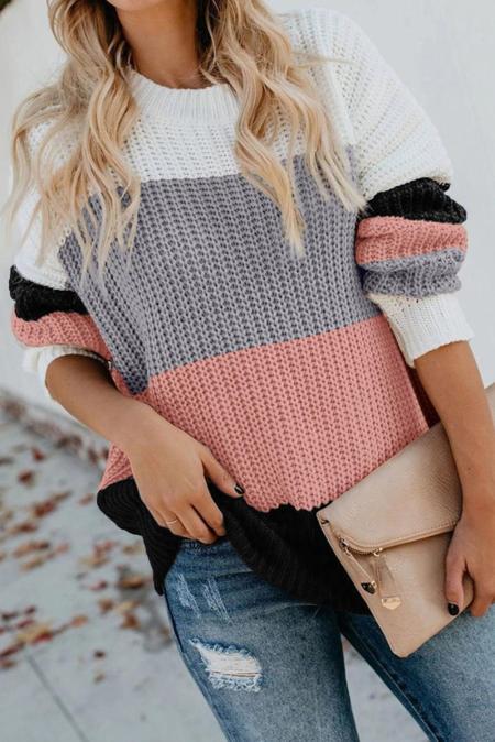 Rosa lässiger Colorblock Sweater