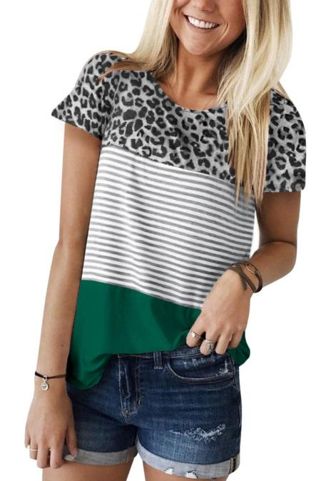 Green Block Striped und Leopard Short Sleeve Tee