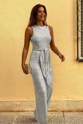 Silver Waist Tie Sleeveless Sexy Sequin Jumpsuit