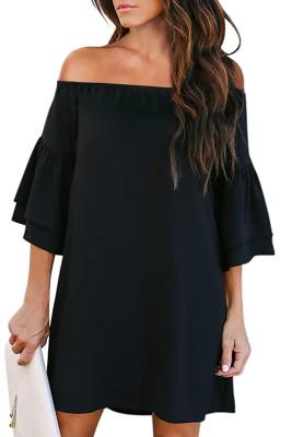 Black Off Shoulder Ruffled Sleeve Shift Dress