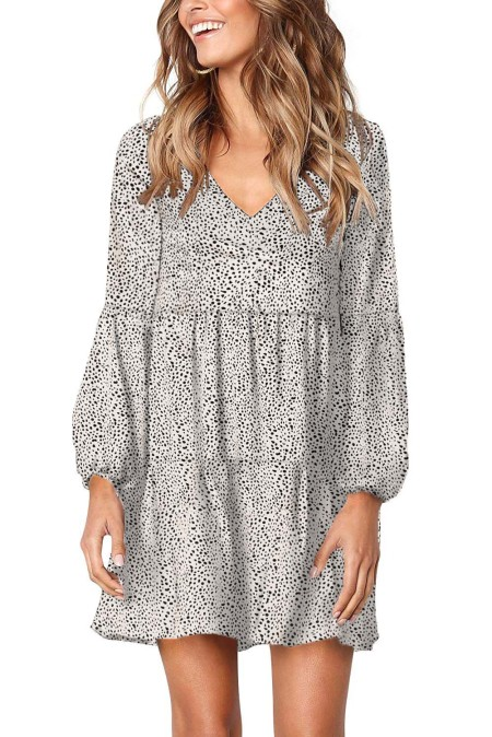White Leopard Ruffle V-Neck Flowy Loose Tunic Dress