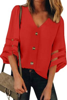 Red Flare Sleeve V Neck Button Down Blouse