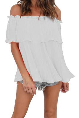 White Off-Shoulder Pleated Ruffle Blouse