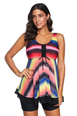 Multicolor Tie Dye Ombre Swimdress Tankini Set
