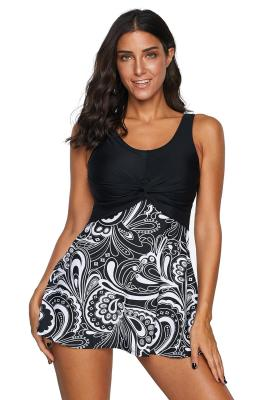 Solid Black Paisley Print Twist Front Tankini Swimsuit