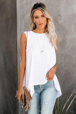 Camiseta sin mangas fluida blanca relajada