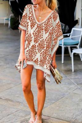 Orange Floral Print Tassel Hem Beach Cover up