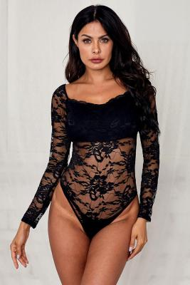 Black Long Sleeve Lace Bodysuit
