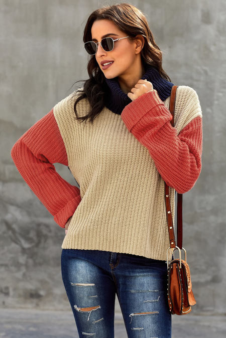 Orange Long Sleeve Turtleneck Color Block Pullover Knit Sweater