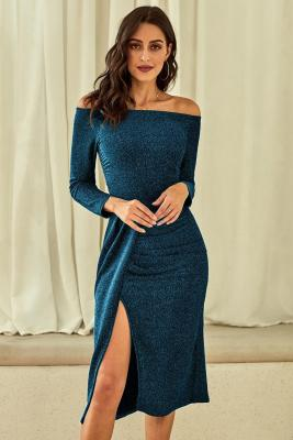 Blue Metallic Glitter Off Shoulder Prom Dress