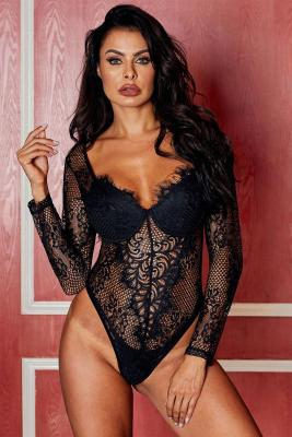 Black Underwire Floral Lace Long Sleeve Bodysuit