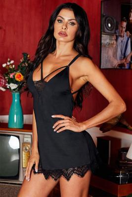 Valentine Day Black Lace with Desire Babydoll Set