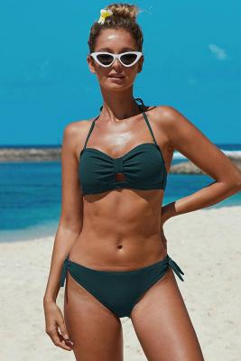 Green Knotted Ruched Bikini Swimwear