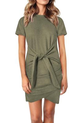Green Short Sleeve Tie Waist T-Shirt Mini Dress