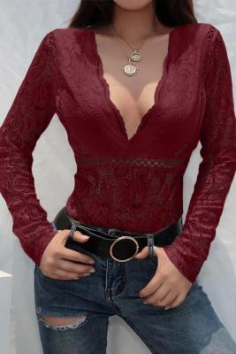 Red Deep V-Neck See Through Skinny Lace Bodysuit