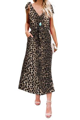 Leopard Bowknot Shoulder Straps Jersey Dress with Belt