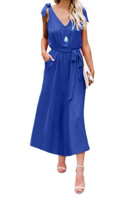 Blue Bowknot Schultergurte Jersey-Kleid mit Gürtel