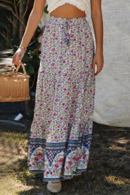 Blue Boho Floral Print Elastic High Waist Pleated A Line Maxi Skirt