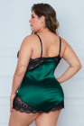 Green Lace Cups Silke Satin Plus Size Chemise