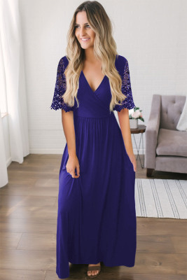 Dark Blue Floral Lace Half Sleeve Wrap V Neck Maxi Dress