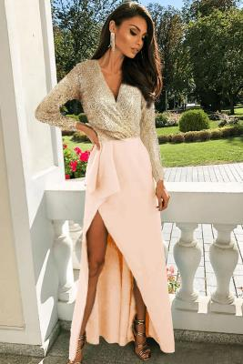 Apricot Long Sleeve V Neck Wrapped Sequin Bodice Long Prom Dress