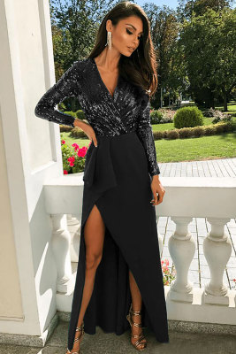 Black Long Sleeve V Neck Wrapped Sequin Bodice Long Prom Dress