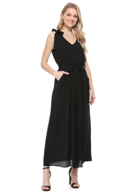 Black Bowknot Shoulder Straps Jersey Dress with Belt