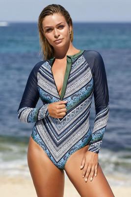 Azul céu manga comprida impresso zipper surf rash guard one piece swimsuit