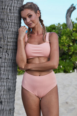 Pink Ribbed Knit Sports Bra High-waisted Bikini Set