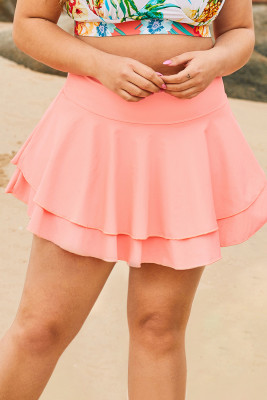 Pink Double-layered Ruffles Beach Skirt