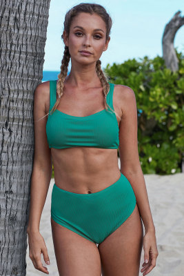 Green Ribbed Knit Sports Bra High-waisted Bikini Set