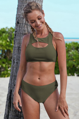 Army Green Hollow-out Bust Crop Tank Bikini Swimwear