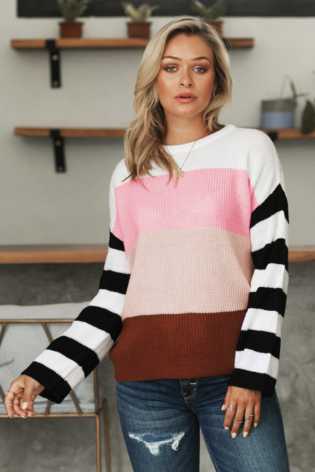 Pink Crew Neck Color Block Oversized Pullover Knit Sweater