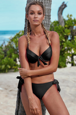 Black Push Up Bikini with Ties