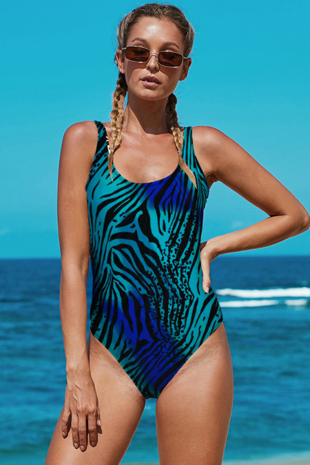 Open Back Animal Pattern Maillot