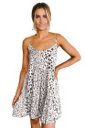White Tiered Leopard Babydoll Dress