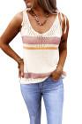 Débardeur en tricot texturé à rayures colorées blanc