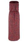 Rotes böhmisches Bandeau-Maxikleid mit Blumendruck