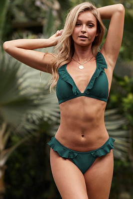 Green Sweet Ruffle Bikini Swimsuit