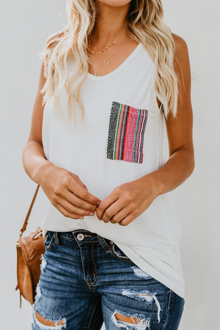 White Casual Women Tank Top with Multicolor Pocket