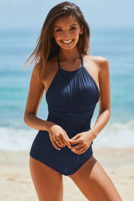 Blue High Neck Ruched Monokini Swimwear with Self Tie Strap