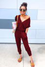 Wine Red V Neck Wrap Front Jumpsuits