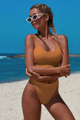Orange Two-piece Knit Textured Crop Bikini Set