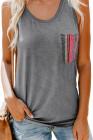 Débardeur décontracté gris pour femme avec poche multicolore