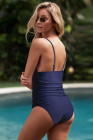 Blue Tummy Control Halter One-piece Swimsuit