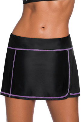 Rose Stitch Trim Black Swim Skirt Bottom