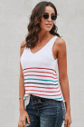 Multicolor Stripes White Knit Tank Top